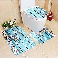 YoungRich 3 Stück Antirutschmatte Set (Bad Teppich + Sockel Teppich + WC  Sitzbezug) Flanell Sternenhimmel Malerei Für Wohnzimmer ...
