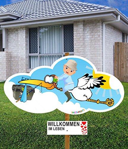 98 cm Baby-Klapperstorch FISCHER JUNGE BLAU & Beschriftungstafel für draußen Geburt Storch-Holz Alternative 10