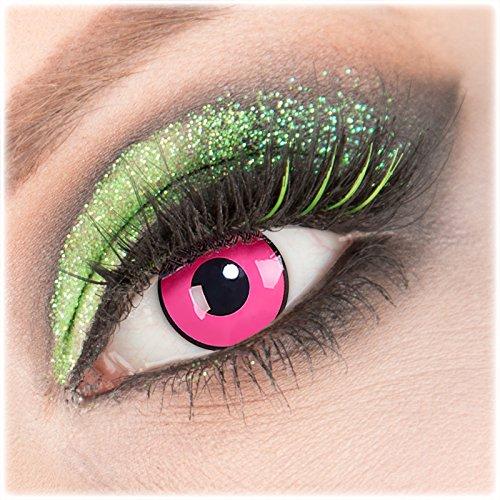 Farbige rosa 'Rose Shock' Kontaktlinsen 1 Paar Crazy Fun Kontaktlinsen mit Kombilösung (60ml) + Behälter zu Fasching Karneval Halloween - Topqualität von 'Giftauge' ohne Stärke