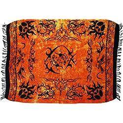 Guru-Shop, Pareo, Tapiz, Falda del Abrigo, Vestido de Naranja Sarong Celta, Viscosa, Tamaño:One Size, 160x100 cm, Pareos, Toallas de Playa