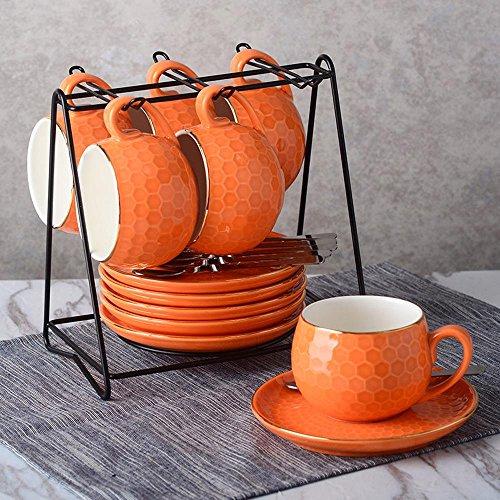 SSBY Belle couleur tasse à café en céramique créative et soucoupe set, rack de 6 tasses 6 disque 6 cuillère , Orange