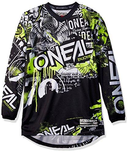 O\'Neal Element Attack MX Motocross Jersey Trikot Shirt Enduro Offroad Motorrad Cross Erwachsene, 0008, Farbe Schwarz Hi-Viz Gelb, Größe S