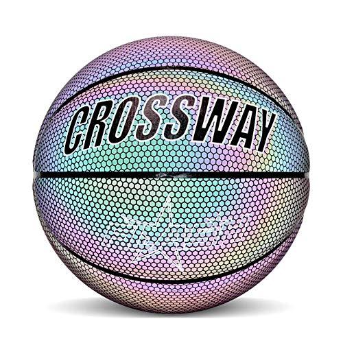 Knowled Ballon de Basket Lumineux réfléchissant en PU avec Sac de Transport et Pompe Taille 7