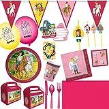 HHO Bibi und Tina Party-Set 150tlg. für 12 Kinder : Teller Becher Servietten Einladung Geschenkboxen Tischdecke Luftballons Wimpelkette Trinkhalme Besteck