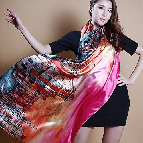 En soie imprimée soie longue écharpe châle à double rectangulaire multi-usage 165cm * 70cm,No. 17 Femmes, festivals, cadeaux danniversaire v065