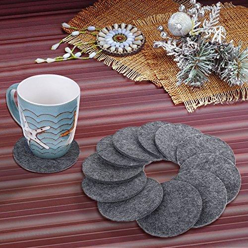 Rovtop 12 Stück Glasuntersetzer Getränk Untersetzer für Tassen, Tisch, Bar, Glas aus Filz Dunkelgrau