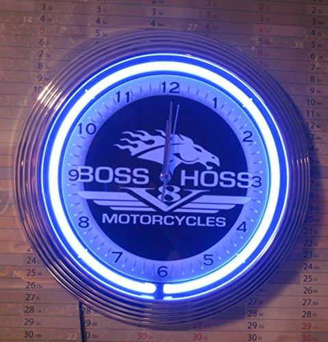 Neon orologio BOSSHOSS Motorcycles Service Garage Sign Orologio da parete USA 50'S Style-Neon colore blu