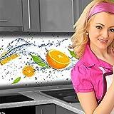Küchenrückwand < Orange Splash > Premium Hart-PVC 0,4 mm selbstklebend 160x60cm