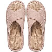 fankou Couple of Cool Summer Linen Slippers for Men and Women Home Bedroom Home Wooden Floor Slippers Thick, Non-Slip,40-41, Khaki