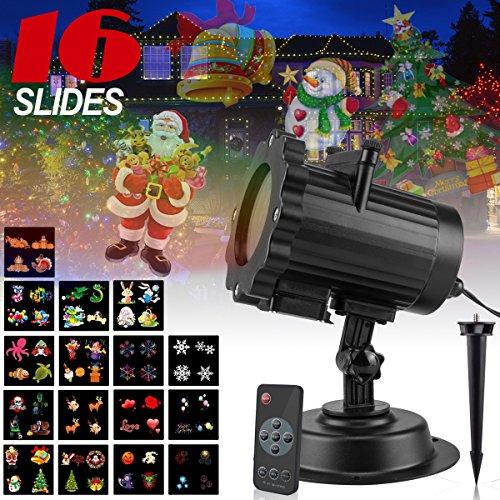 Luce del proiettore del LED,led proiettore luci con 16 Lenti Intercambiabili,lampada da giardino proiettore,impermeabile natale Proiettore per Natale, Halloween, Festività, Matrimonio, Compleanno