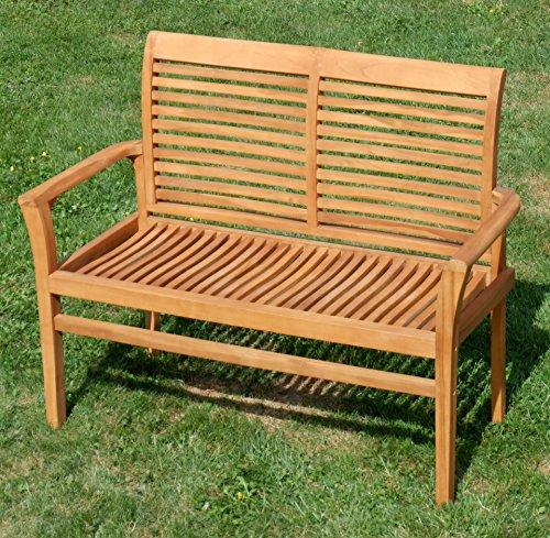 TEAK Design Gartenbank Parkbank Sitzbank 2-Sitzer Bank Gartenmöbel Holz sehr robust Modell: ALPEN120 von AS-S - 5