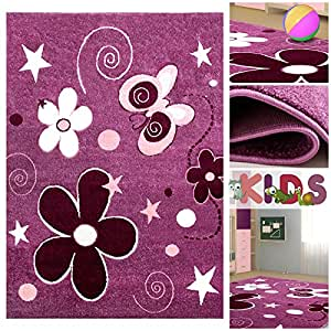 kinderteppich spielteppich mit schmetterlingen blumen in lila violett rosa schadstoff. Black Bedroom Furniture Sets. Home Design Ideas