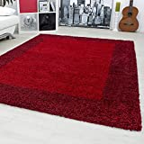 Designer rugs&carpets Non-Shedding Shaggy living room long pile carpets square 30 mm pile height 1503, Size:120x170 cm, Color:Red