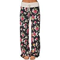 Famulily Women's Comfy Stretch Polka Dot Drawstring Long Wide Leg Lounge Pants