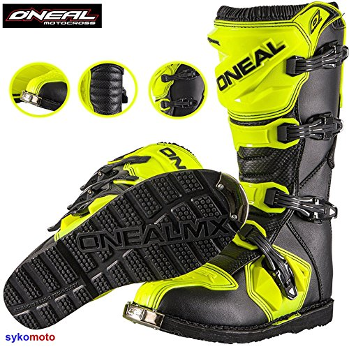 Stivali da Moto Oneal Rider Uomini MX off Road Trail Traccia Enduro ATV Pit Sport Protezione Stivale da Corsa Neon Giallo (EU 41/UK 7)
