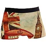 ALARGE Men's Boxer Briefs, London Big Ben Union Jack Flag Short Underwear Soft Stretch Underpants for Men Boys S-XL
