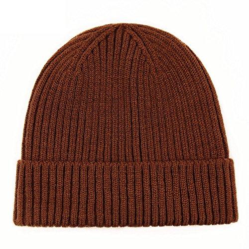 PinzhiUnisex Winter warme Slouchy Cap Ski Skull Hüte stricken Beanie(Kaffee) (Manschette Slouchy)