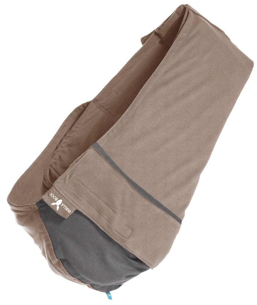 Wallaboo Wrap Sling Carrier Connection, Easy Adjustable, Ergonomic, 3 Carrying Positions, Newborn 8lbs to 33 lbs, Soft Breathable Cotton, 3 Sitting Positions, EU Safety Tested, Color: Taupe / Grey Wallaboo Ergonomically correct design with three natural positions: sleep, sit and active- one size fits all Can be used from premature baby through to 33lbs - with easy-to-use features like a full-front opening and an adjustable back Single piece of fabric, no straps, belts or buckles - Partly padded to give extra comfort- No wrapping, no hardware. Ready to wear 4