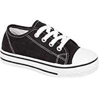 Girls Boys Kids Low Top Iconic Classics Canvas Sneakers White Toe Cap Lace Up Slip on Fashion Trainers Go Shoes Casual…