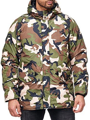 RedBridge Herren Regenjacke Mantel Camouflage Parka Freizeitjacke mit Kapuze Camouflage
