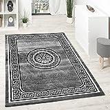 Designer Teppich Mit Glitzergarn Klassische Ornamente Bordüre Grau Schwarz Weiß, Grösse:160x220 cm