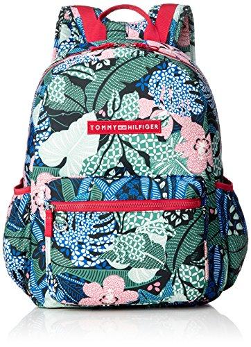 Tommy Hilfiger Unisex-Kinder Basic Nylon Backpack Print Rucksack, Grün (Floral Print), 13x41x30 cm