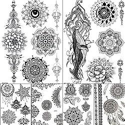 lihaohao Mandala Flor Negro India Cadenas Ballena Tatuajes Pegatinas Mujer Chica Cuerpo Brazo Cuello Falso Temporal Personalizado Tatuaje De Margarita 20X15Cm 6Pc
