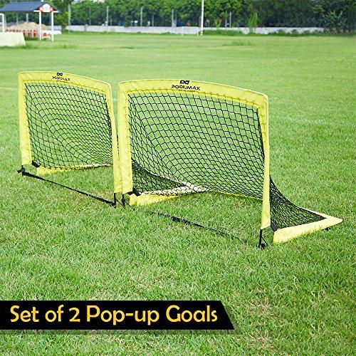 PodiuMax Portable Pop-up Fußballtore, 2er Set, langlebig & faltbare Fußballtor Net mit Tragetasche, gut für alle Altersgruppen Indoor / Outdoor-Training oder Team-Spiel (Mittel(97x85.5x85.5 cm))