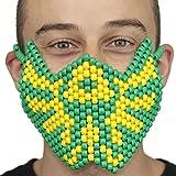 """Masque Kandi """"Tomorrow Land Festival Jaune et Vert"""" complet - Kandi Gear, masque pour rave party, masque pour Halloween, masque de perle pour festivals de musique et fêtes"""