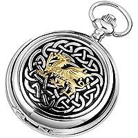 Argento / oro / nero celtica drago cromato completa Hunter quarzo tasca orologi di Woodford - Drago Quarzo Orologio