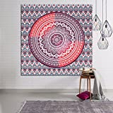 Indian Mandala Wall Hanging Tapestry, Hippie Hippy Tapestries, Feather Peacock Print Tapestry, Cotton Handmade Badsheet Home Decor (Multi Color)) , 203x150