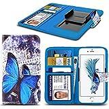 Spyrox - Tp-Link Neffos C5 Case PU cuir bleu imprimé papillons Design Pattern Wallet couverture de peau Clamp Style de printemps