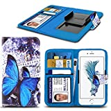 ( Blue Buterfly ) PRINTED DESIGN case for Argos Alba 4 Inch case cover pouch High Quality Thin Effect Holdit Spring Clamp Clip on Adjustable Book by i-Tronixs