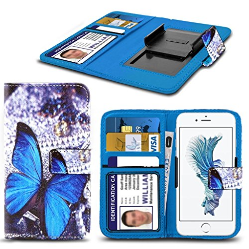Kazam Tornado 350 HŸlleBrieftaschen-Etui Pouch PU Leather [Blue Butterfly] PRINTED DESIGN HŸlleDesign Spring Clamp [Clip on] Adjustable Book Style Flip Skin HandyhŸlle by i-Tronixs¬
