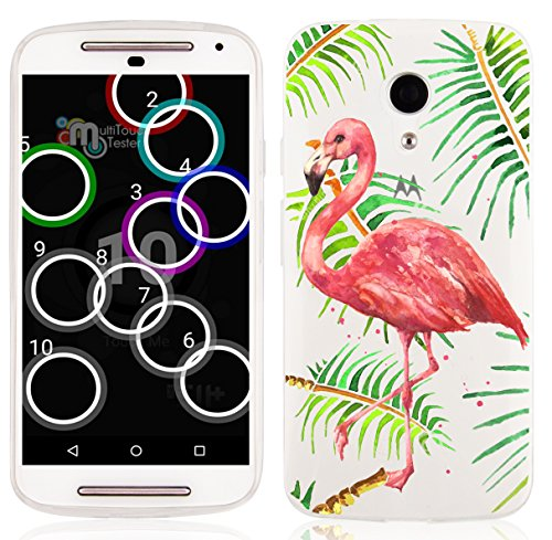 YLIZARD Transparentes Sommer Sketch Back Cover aus Silikon für Motorola Moto G (2. Generation), Flamingo (Schöne Mädchen Pinterest)