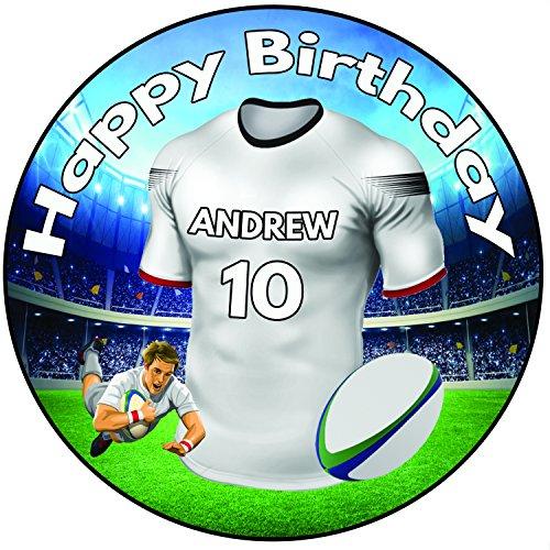 AK Giftshop Personalisierbar Rugby Shirt Birthday Cake Topper 203 Cm 20 Zuckerguss Rund Dekoration Ulster Farben