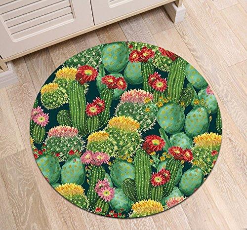 Kaktus Kaktusfeige Blumen_Rutschfest maschinenwaschbar runde Fläche Teppich Wohnzimmer Schlafzimmer Badezimmer Küche weich Teppich Bodenmatte Inneneinrichtungen 80x80 - Küche-teppich-blumen