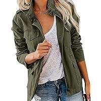 Imily Bela Women's Transition Jacket Parka Stand-Up Collar More Pockets Utility Jacket Short Coat Boyfriend