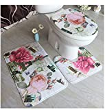 Cystyle 3 Stück Toiletten-Abdeckung Set Bad WC Set Sitzbezug (Bad Teppich + Pedestal Teppich + Toilettensitzabdeckung), eine Vielzahl von Mustern optional (Stil 11)