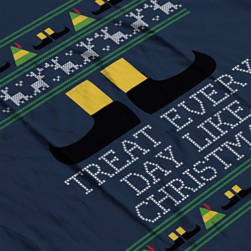 Treat Every Day Like Christmas Elf Quote Knit Men's Vest Navy Blue