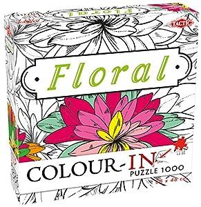 Tactic Colour-In Puzzle Floral 1000 pcs Puzzle - Rompecabezas (Puzzle Rompecabezas, Arte, Niños y Adultos, Niño/niña, 9 año(s), Interior)