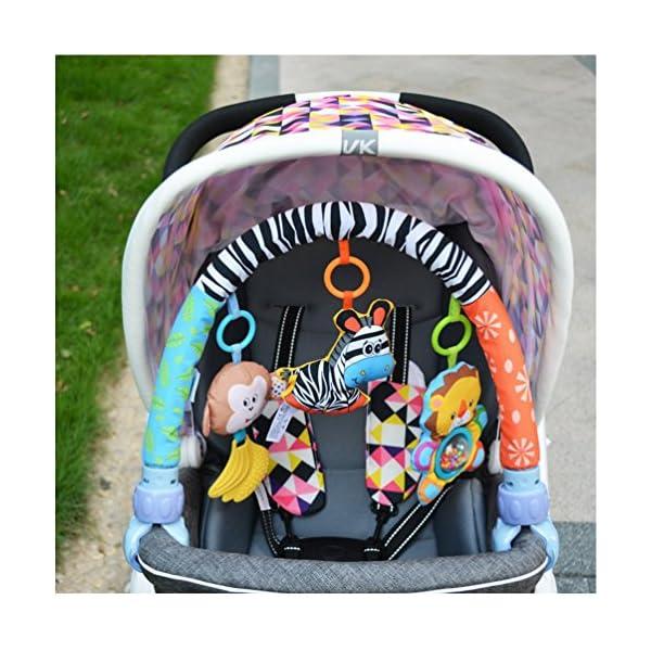 Singring Baby Arch Pram Crib Activity Cloth Animal Toy Pram Activity Bar with Rattle/Squeak (Zebra)