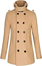 Mose Plus Size Long Sleeve Winter Warm Slim Double Breasted Long Trench Coat