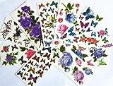 10pcs/package heißer Verkauf Tattoo-Aufkleber verschiedenen Ausführungen einschließlich lila Pfingstrose / blau und rote Rosen / bunte Blumen und Schmetterlinge / red lips / etc.