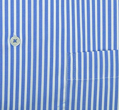 Eterna Comfort Fit Langarm rot gestreift mit Classic Kent-Kragen Blau