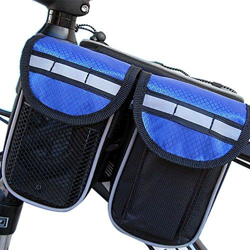 Fahrradrahmentasche Radfahren Bilateralen Paket Strahlenpaket aus Nylon Satteltasche Werkzeugtasche für Rennrad, Mountainbike, Oberrohr Fahrrad Handytasche Halter Blau 4 in 1