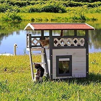 dibea CH10811, Maison pour Chats, Lodge Cabane en Bois, 77 x 50 x 73 cm, avec Terrasse (Gris-Blanc)