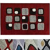 Design Teppich Cubes | moderner Wohnzimmerteppich mit Trend Muster | in 2 Größen und vielen Farben für Wohnzimmer, Esszimmer, Schlafzimmer etc. | rot 160x220 cm
