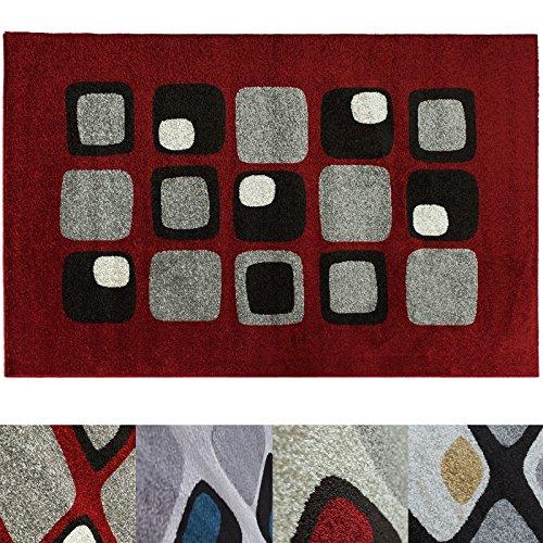 Design Teppich Cubes | moderner Wohnzimmerteppich mit Trend Muster | in 2 Größen und vielen Farben für Wohnzimmer, Esszimmer, Schlafzimmer etc. | rot 120x170 cm