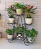 ZENGAI Blumenständer Blumentopf Regal Eisen 3 Stockwerk Stand Stand Wohnzimmer Balkon Innen Boden Blume Rack (Farbe : Schwarz, größe : 76*23*73cm)